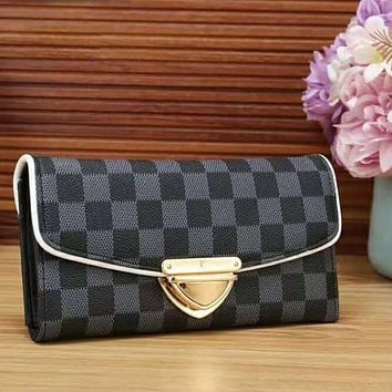 LV Louis Vuitton New fashion monogram cream check brown black check leather wallet handbag purse black