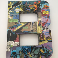 "Batman Comic Book Collage ""Letter B for Batman"" Wedding Sign - Wall Art - The Letter B - Batman Wall Sign"