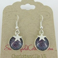 Silver-Tone Holographic Glitter Glass Star Charm Galaxy Dangle Earrings