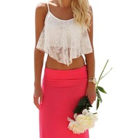 Summer Style Crop Top Fashion Sexy Women Lace Floral Hollow Out Top For Women Girl Vintage Croptops Sportwears