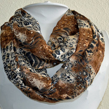 Animal Print Fall Infinity Scarf, Cowl Scarf, Light and Silky, Ready to Ship