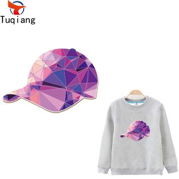 Pink Laser geometric diamond cap  patch Diy T-shirt Hoodies and denim jacket thermal transfer patches for clothes 17*11.6CM