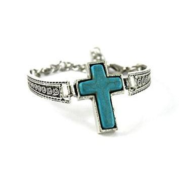 ANTIQUE SILVER METAL TURQUOISE CROSS TOGGLE BRACELET