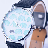 Vintage Leather Elephant Watch Women Dress Quartz Watches + Gift Box