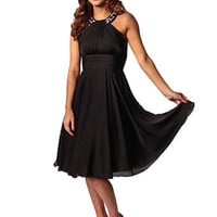 Black Pleated Bust Cocktail Dress-Full Skirt Party Dress