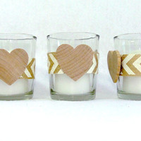 Set of 3 Natural Burlap and Ivory Chevron Wedding Candle Holder With a Wood Heart Votive Tealight Rustic Barn Country Wedding