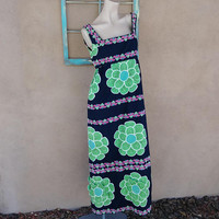 Vintage 1960s Dress Maxi Tropical Floral 60s Psychedelic US12 B38