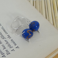 Blue Earrings, Blue Glass with Gold Swirls on Sterling Silver