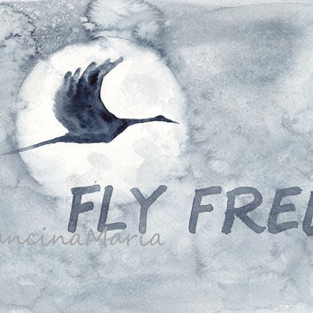 Heron Full Moon, Fly Free, Watercolor painting art, Animal arts, Bird quote watercolour painting.