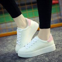 High Quality Casual Shoes for Women Lace up Flats with Platform Korean Style Leisure Sport White Zapatillas Deportivas Mujer
