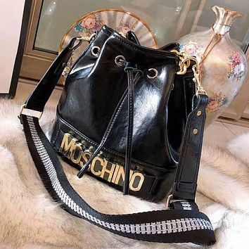 MOSCHINO High Quality Stylish Women Leather Handbag Shoulder Bag Bucket Bag Crossbody Satchel