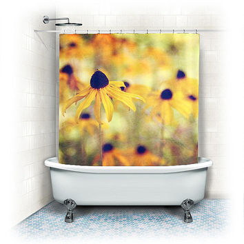 "Fabric Shower Curtain ""Black eyed Susans"" yellow, orange, Rudbeckia, bathroom, home decor, flowers,nature,floral shower curtain"