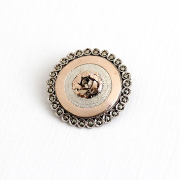 Antique Silver & Rose Gold Marcasite Flower Brooch Pin - Vintage Victorian 1900 Round Domed Mixed Metals Two Tone Floral Spring Jewelry