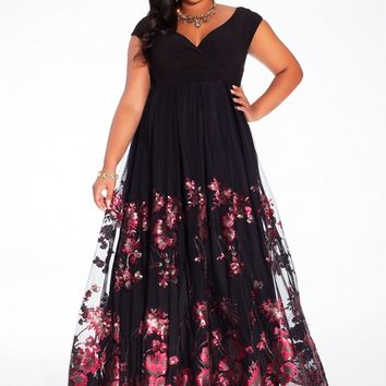 Lakshmi Plus Size Gown in Merlot