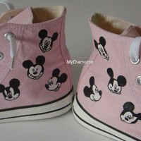 Hand Painted Mickey Mouse On Pink Converse Shoes COP11