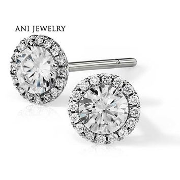 14KT White Gold Women Earrings 1.06 CT Certified I/S1 Round Cut Real Natural Diamond Earrings
