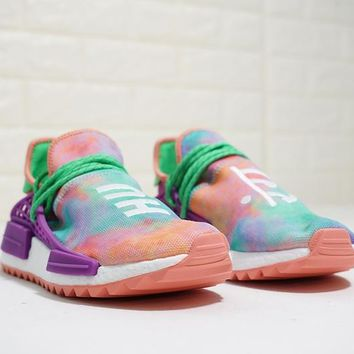 "Pharrell x adidas Originals Hu NMD Trail ""Holi Pack"" Running Sneaker ""Purple"" AC7034"