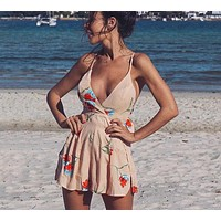 Melinda Detailed Open-Back Romper