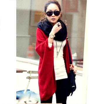 Red Collarless Cardigan Design Knitting Sweater