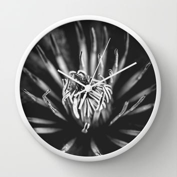 Flower universe - BW Wall Clock by HappyMelvin Protanopia