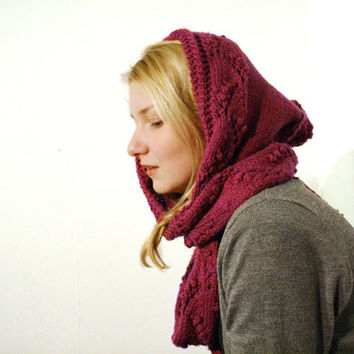 knit hooded scarf for women, snood, hand knit merino scarf, warm scarf