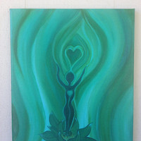 I Am Love 11x14 abstract acrylic energy art FREE SHIPPING heart chakra, lotus, healing, spiritual, meditate, new age