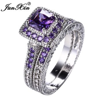 Purple Square Zircon Ring 10KT Gold Filled Wedding Jewelry Promise Rings For Women Bridal Ring Sets