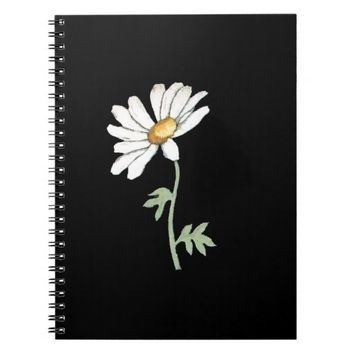 Pretty White Daisy on Black