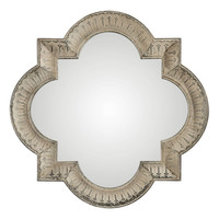 Giada Large Quatrefoil Aged Ivory Mirror by Uttermost
