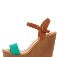 Emily 34 Aqua and Tan Platform Wedge Sandals