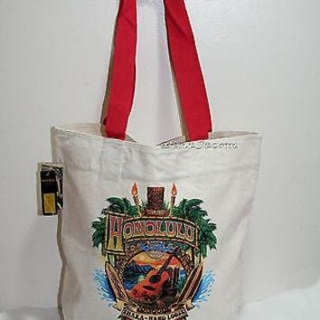 Licensed cool NEW Hard Rock Cafe Honolulu Hawaii Shaka Canvas Reusable Shopping Tote Bag Purse