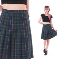 90s Green and Navy Plaid High Waisted Pleated Skirt Preppy Lolita Goth Vintage Clothing Womens Size Small