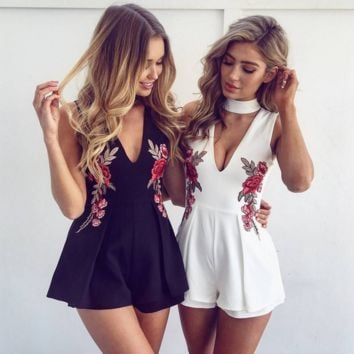 Fashion sexy halter v neck floral embroidery romper