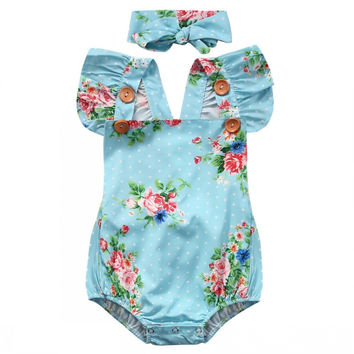 2PCS / Cute Blue Floral Cotton Sleeve Romper + Headband Set For NB Girls