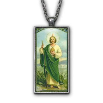 Saint Jude Painting Religious Pendant Necklace Jewelry