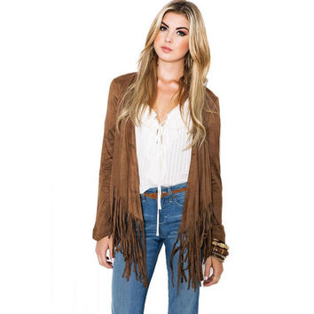 Tassel long sleeved cardigan jacket for women +necklace