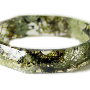 Green Bracelet- Real Moss Bracelet- Flower Jewelry- Resin Jewelry- Flower Bangle- Flower Bracelet