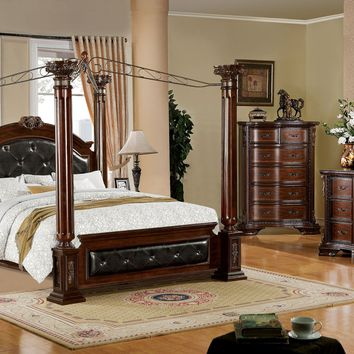 Petri Fluted Post Steel Canopy Bedroom Set