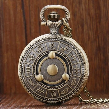 Hot Japanese Animation Naruto Theme Bronze Quartz Pendant Pocket Watch With Necklace Chain Best Gift To Men Women