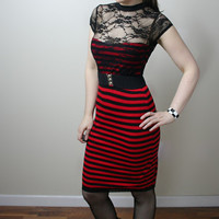 Greaser Girl stripe lace wiggle rockabilly dress - handmade to order - smarmyclothes punk pinup retro