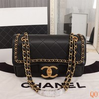 HCXX 19Aug 103 8185 Fashion Casual Chain Classic Logo Shoulder Flap Bag 27-13-11cm Black