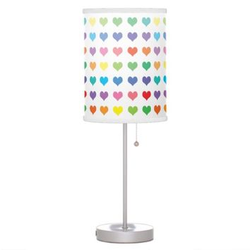 Fun, and Cute Rainbow of Colors Hearts Desk Lamps