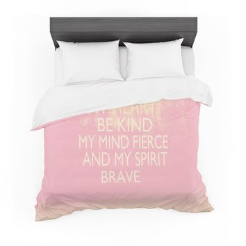 "Suzanne Carter ""Kind-pink"" White Typography Featherweight Duvet Cover"