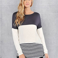 Colorblock Striped Sweater in Navy
