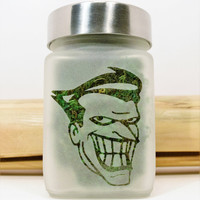 The Joker Etched Glass Storage & Stash Jar - Suicide Squad - Batman Gift - Comic Book Collectible