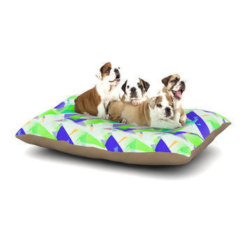 "Alison Coxon ""Confetti Triangles Blue"" Green Teal Dog Bed"