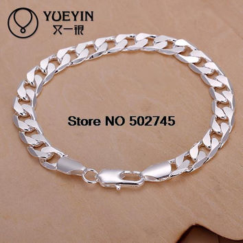 Top quality Silver Plated & Stamped 925 New men bracelet fashion hand chain 8mm Side ways bracelets jewelry size 8inch