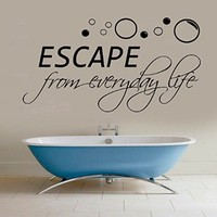 Wall Decals Vinyl Decal Sticker Bathroom Children Kids Nursery Baby Room Interior Design Home Decor Art Mural Sea Quote Escape From Every Day Life Wording Bubbles Kg859