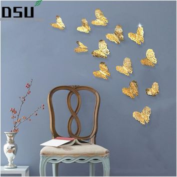 12pcs/set 3D Metallic Feel Hollow Butterflies Wall Stickers Kids Rooms Wallpaper Party Wedding Decoration Art Mural Home Decor