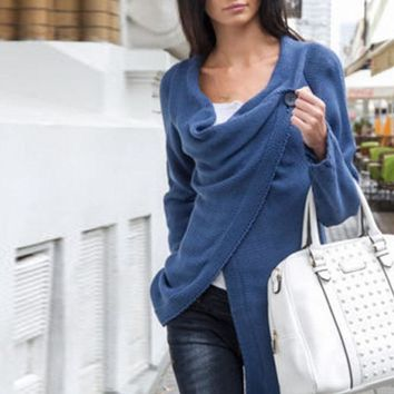 Solid Colors Knit Wrapped Cute Women Long Cardigan Ladies Sweater